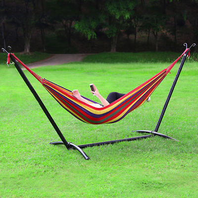 Camping Outdoor Portable Hammock With Heavy Duty Steel Frame Stand Carry Bag