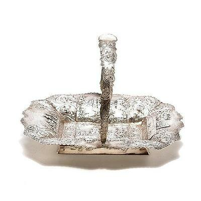 English Victorian Sterling Silver Basket Tray.