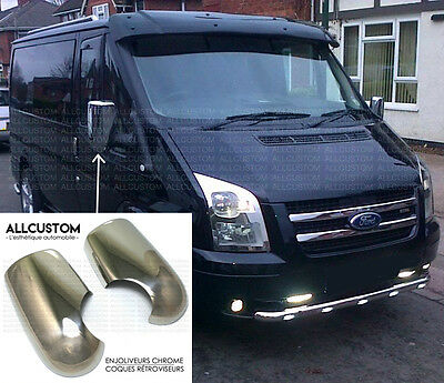 CHROME EXTERIOR SIDE MIRROR COVERS CAPS WINGS MOLDING for FORD TRANSIT 2003-2013