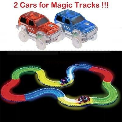 New 2 Cars for Magic Tracks Glow in the Dark Amazing Racetrack Light Up Race Car