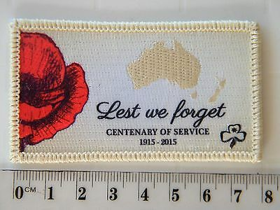 ANZAC Lest We Forget + poppy 1915 - 2015 Centenary of Service, Girl Guides Badge