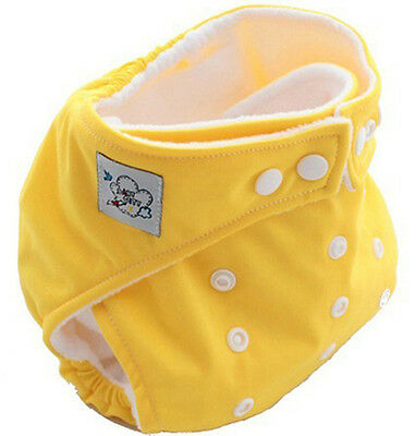 Yellow Baby Kids Infant Insert Adjustable Washable Cloth Diaper Nappies Reusable