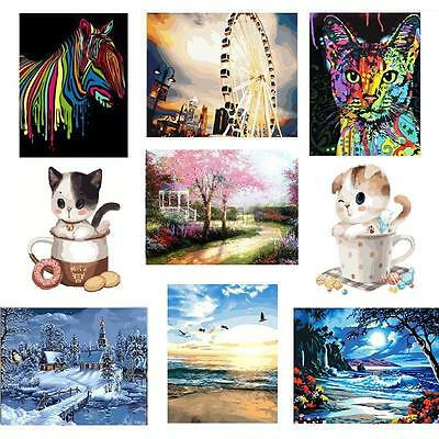 DIY Oil Painting Number Kits Animal Senery Art Canvas Acrylic Home Decors Gift