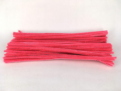 50pcs Bright Pink Chenille Stems 30cm Craft Pipe Cleaners Craft Stem hand-woven