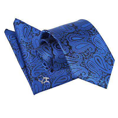 Mens Tie Hanky Cufflinks Set Floral Paisley Royal Blue Classic Skinny by DQT