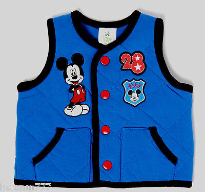 Disney Boys Size 000 ( 0 - 3 Months ) Blue Soft Cotton Blend Padded Vest Top