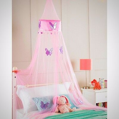 Childrens Girls Bed Canopy Mosquito Fly Netting Net 30x230cm Pink Butterfly
