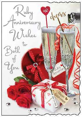 "Jonny Javelin Ruby 40th Wedding Anniversary Card - Champagne & Roses 9"" x 6.25"""