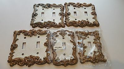 Vintage American tack ORNATE 1967 double switch plate cover WHITE GOLD