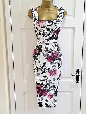 NEW Women's Purple White Floral Pencil Party Evening Midi Dress SZ 10 12 14 16