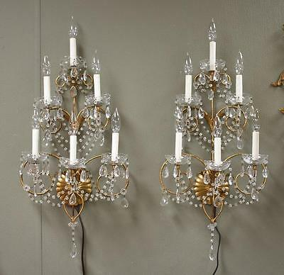 Pair Italian Six Light Crystal Wall Sconces Gold Tone Finish