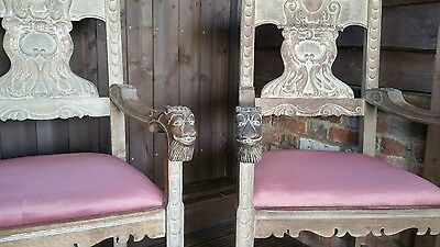 A PAIR OF ANTIQUE CARVER ARMCHAIRS CIRC1700 Recovered in New pink Dralon Fabric