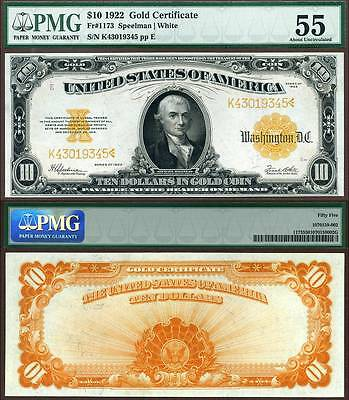 1922 $10 Gold Certificate FR-1173 PMG Graded