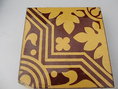 Victorian Ceramic Floor Tile Terracotta Antique 1800's Vintage Old Floral Vine
