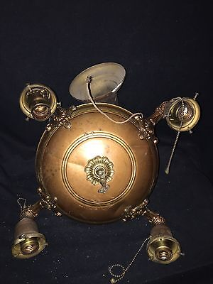"1930's 17"" Brass 4 Bulb Hanging Light Fixture"