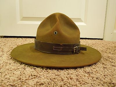 Vintage Scoutmaster Boy Scouts Campaign Hat W/ Storage Sleeve Holder