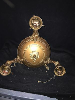 "1930's 11 1/2"" Brass 3 Bulb Hanging Light Fixture"