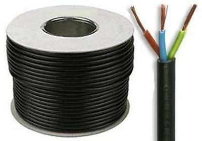 3183Y 3 Core 1.0mm 10 Amps Black Round Mains Electrical Cable Wire By The Meter