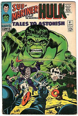 Tales To Astonish #81. Marvel Jul 1966. Sub-Mariner. Hulk. VG