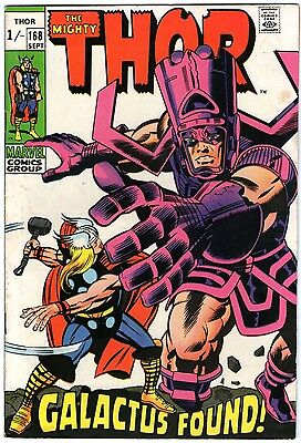 Thor #168. Vol1. Marvel Sep 1969. Galactus. Lee, Kirby, Klein. FN+ Pence copy