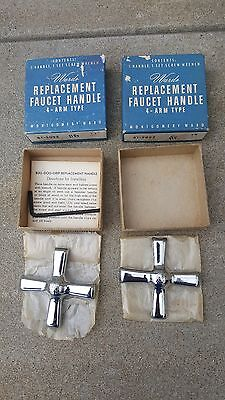 NOS Vintage faucet replacement handles Cross 4 arm Hot & Cold plumbing fixture