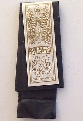 Princess Victoria Size 12 Nickel Plated Beading Sewing Needles, Made in Japan