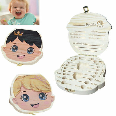 Baby Tooth Box Organizer Save Milk Teeth Wood Boy Girl Kids Storage Case Holder