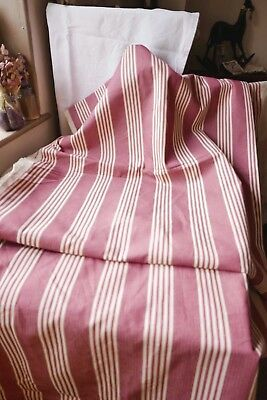 "Vintage Red Cotton Ticking French Fabric Decorative Textile 66""x20""/ 1.6m x50cm"