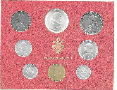 Vatican City 1963 Mint Set(8 Coins) KM-MS66 Gem BU In Original Holder