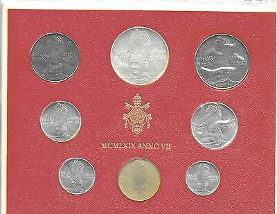 Vatican City 1969 Mint Set(8 Coins) KM-MS73 Choice BU In Original Holder