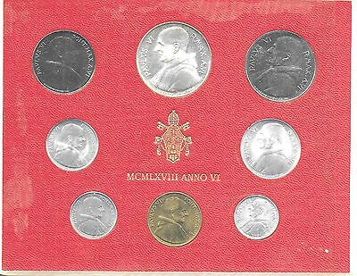 Vatican City 1968 Mint Set(8 Coins) KM-MS72 Choice BU In Original Holder