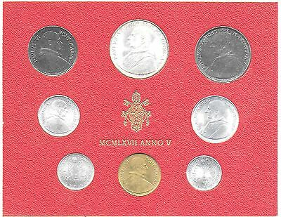 Vatican City 1967 Mint Set(8 Coins) KM-MS71 Choice BU In Original Holder