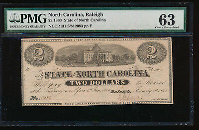AC Obsolete State of North Carolina Raleigh $2 1863 Cr NC-131 PMG 63
