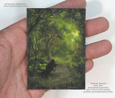 Philippe Fernandez Original Miniature ACEO Painting Witch Landscape Tree Gothic