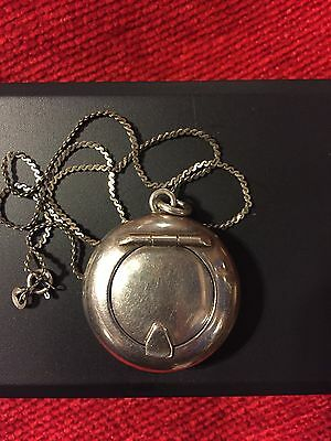 Stunning Solid Silver Compact Pendant Original Powder Puff Inside