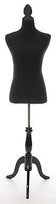 NEW TC20627 | Black Dressmaker's Mannequin Black Wood Stand
