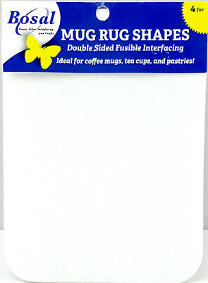 NEW Bosal 3512-02 Double Sided Fusible Rectangle Mug Rug 15x20cm 4pk | FREE POST
