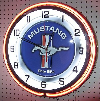 "19"" Double Neon Clock Ford Mustang Blue Sign Chrome or Carbon Fiber Finish"