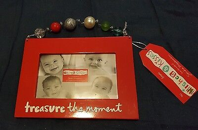 "SANDRA MAGSAMEN CERAMIC PHOTO FRAME ""TREASURE THE MOMENT""  Red Beaded NEW"