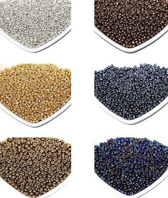 200pcs 4mm / 3mm / 2mm Crystal Glass Spacer Seed Beads Gold Silver Metallic Look
