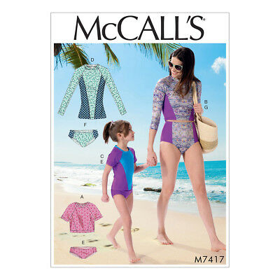 McCalls Sewing Pattern M7417 Misses/Girls Swimsuits