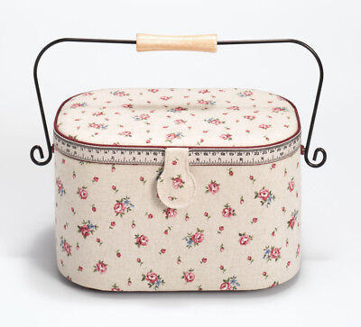 Round Sewing Box with Pincushion, Storage Tray, and Metal Handle | 30x20.5x19cm