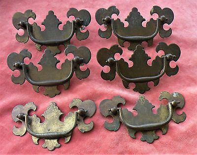 Vintage Set of 6 Colonial Old furniture Pulls CHIPPENDALE Like