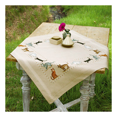 Embroidery Kit Tablecloth Cats Design Stitched on Ecru Fabric | Size 80 x 80cm