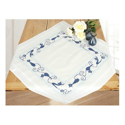 Embroidery Kit Tablecloth Cheerful Cats Design Stitched on Cotton Fabric 80x80cm