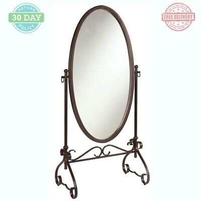 Oval Floor Wall Mirror Large Straight Antique Brown Metal Framed Scroll Base