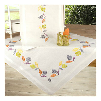 Embroidery Kit Tablecloth Colourful Leaves Stitched on Cotton Fabric  80 x 80cm