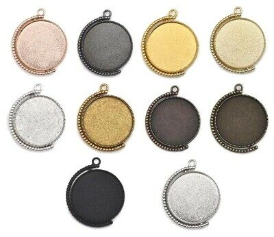 1x Round Rotation Double Sided Pendant Settings Charm Blank Base Jewelry Making