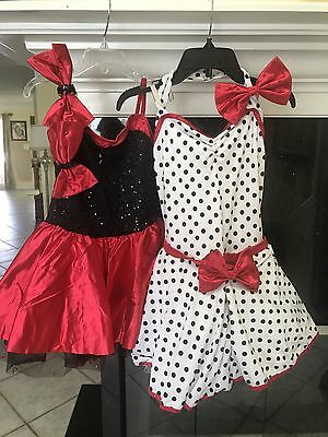 Black Polka Dot Dance with red trim Costume For Girls or great Halloween costume