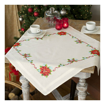 Embroidery Kit Tablecloth Poinsettia & Ribbon Stitched on Cotton Fabric  80x80cm